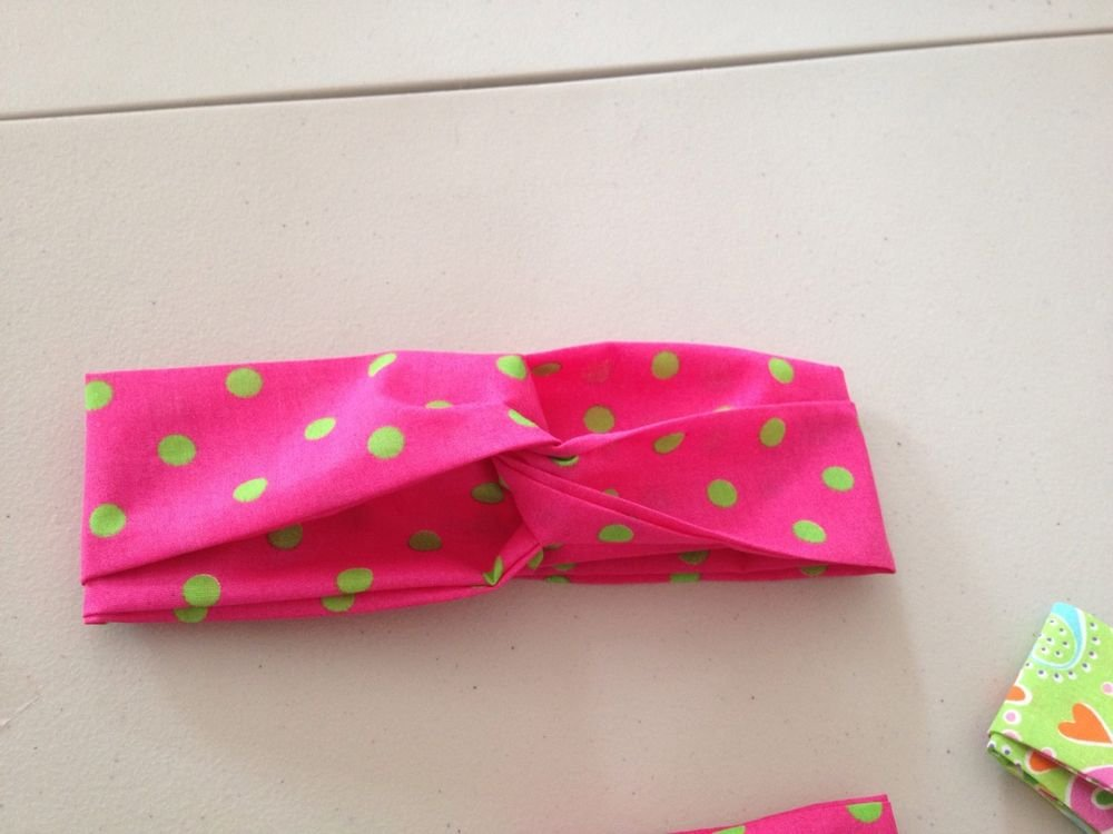 Handmade Bright Fun Colord Twisted Headband  With Elastic On The Back To