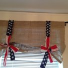 Handmade Tie Up Burlap Valance With American Flag