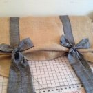 Handmade Tie Up Burlap Valance With Black Chambray Fabric