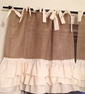 Handmade French Country Cafe Style  Burlap with 3Tires Of Ruffles And Ties