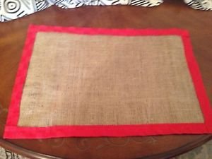 Handmade Burlap Placemats Set Of 4 With Red Fabric Border