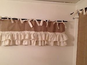 Handmade Natural Burlap Valance With 2 Tires Off WhiteRuffles And Matching Ties