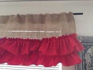 Handmade BurlapValance With  2tires Of  Red Ruffles