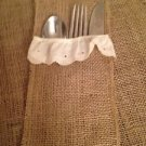Handmade Set of 4Burlap And Eyelet Trim Utensil Holders