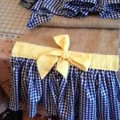 Natural Burlap Table Runber With 2 Navy Blue Gingham Ruffels