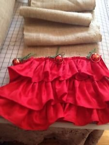 Handmade Natural Burlap Table Runner With 3tires Red Ruffles 3large Bells