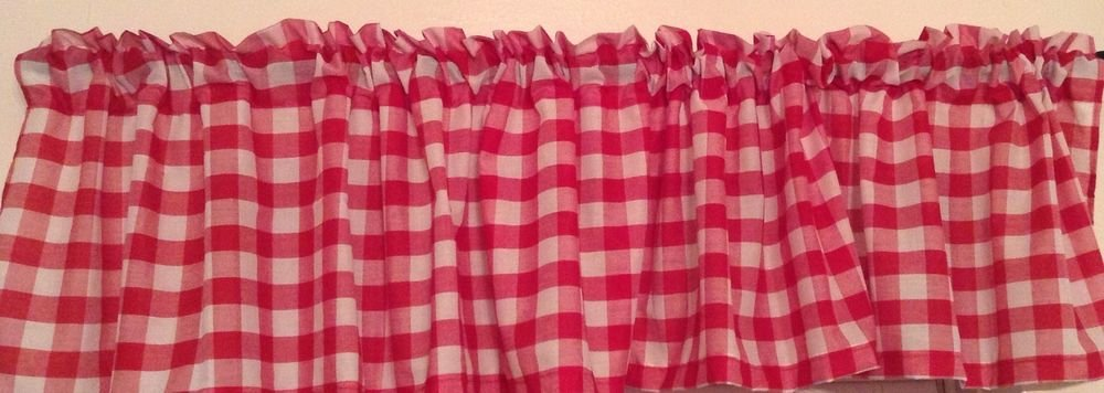 "Handmade Red Gingham Valance 98"" Wide16"" Long"