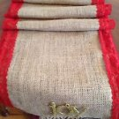 Handmade Natural Burlap Table Runner With Red Lace  And Golden Removable JOY