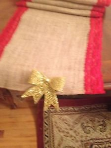 Handmade Natural Burlap Table Runner With Red Lace  And Golden Removable Bow