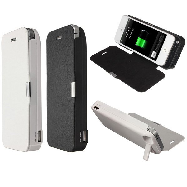 4200mAh External Battery Backup Charger Case Flip Stand for iPhone 5