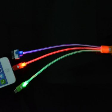 23CM LED Light 3 In 1 USB Data Charging Cable Micro USB For iPhone