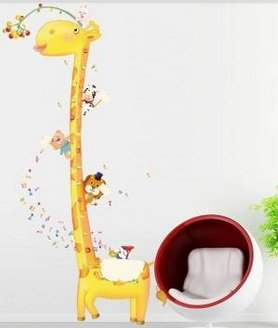 Removable Giraffe Height Wall Sticker Kids Room Decor