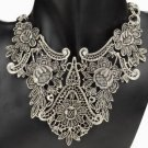 Vintage Silver Plated Flower Choker Necklace Women Jewelry
