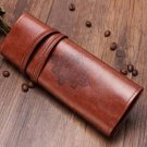 Vintage Retro Roll Leather Make Up Cosmetic Pen Pencil Bag