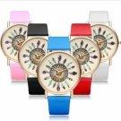 PU Leather Gold Women Round Quartz Wrist Watch