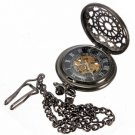 Vintage Men Web Skeleton Mechanical Pocket Watch