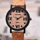 Men Women Vintage Wood Grain Roman Number Quartz Watch