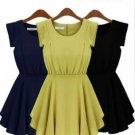 Women Sleeveless Chiffon Dress Plus Size Round Neck