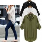 Casual Long Batwing Sleeve Transparent Chiffon Blouse