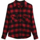 Black Red Plaid Checkered Pockets Shirt Blouse