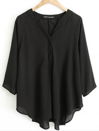 Loose Sexy V Neck Shirt Pure 3/4 Batwing Sleeves
