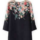 Women Vintage Floral Printed 3/4 Sleeve Chiffon