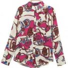 Lady Floral Long Sleeve Turn Down Collar Chiffon Blouse
