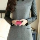 Women Gray Peter Pan Collar Pu Stitching Woolen Dress
