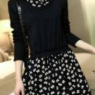 Long Sleeve Collar Knitted Floral Dress