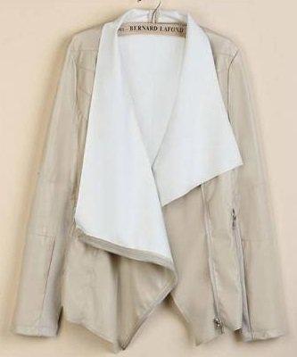 Women Casual Slim PU Jacket Black Zipper Cool Shirt