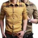 Mens Fashion Casual Slim Fit Long Sleeve Plaid Stitching Dress Shirt