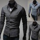 Mens Grid Stitching Shirt Fashion Color Casual Long-sleeve Shirt