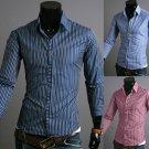 Men's Long-sleeved Striped Shirt Cotton Shirt