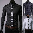 Mens Plaid Stylish Dress Shirts Casual Slim Long Shirt