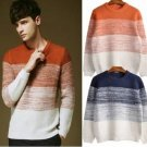Men's Knitted Contrast Color Crew-Neck Pullover Sweater