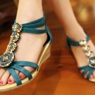 Bohemia Beaded Rhinestone Wedge Heels Sandals