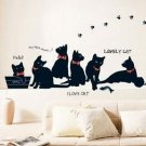 Removable Black Cat Family Wall Sticker Room Bcakground