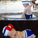 4PCS Baby Seaman Crochet Costume Photography Prop Clothes