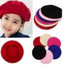 Children Baby Girls Woolen Beret Solid Color Bud Hat Cap