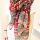 Bohemia Folk Style Geometric Patterns Shawl Long Colorful Thin Scarf