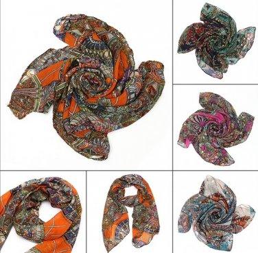Women Scarf Lady Chiffon Print Silk Long Neck Scarf Pashmina Shawl