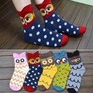 1Pair Women Socks Warm Cotton Owl Pattern Cartoon Cute Hosiery