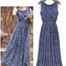 Vintage Women Sleeveless Elastic Waist Floral Long Maxi Pleated Dress