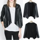Long Sleeve No Button PU Leather Coat