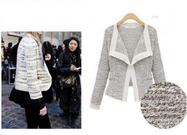 Woolen Lady Split Contrast No Button Knit Outwear