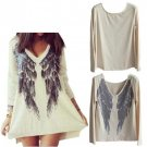 Long Sleeve Feather Angel Wing Printed Sweater V Neck Shirts Blouse