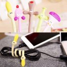 5Pcs Color Random Fashion Lovely Strip Animal Shaped Bobbin Rubber Earphone Line Winder Drop