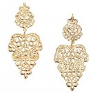 Bohemian Silver Gold Long Hollow Flower Alloy Dangle Stud Earrings
