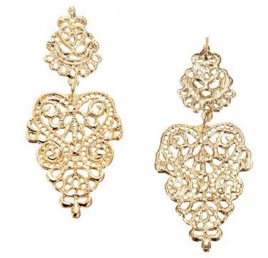 Bohemian Silver Gold Long Hollow Flower Alloy Dangle Stud Earrings