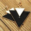 White Black Geometry Double Triangle Alloy Dangle Stud Earrings